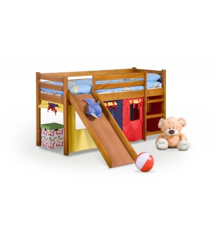 NEO PLUS - single bed with slide color: pine