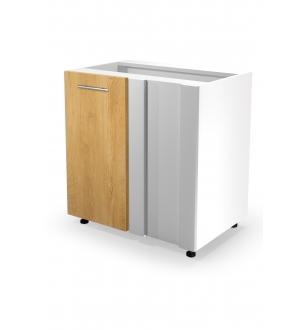 VENTO DN-100/82 corner lower cabinet, color: white / honey oak