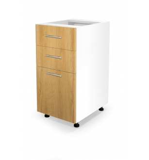 VENTO DS3-40/82 lower cabinet with drawers, color: white / honey oak