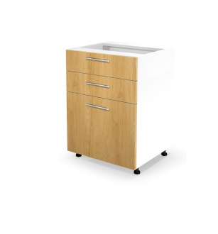 VENTO DS3-60/82 lower cabinet with drawers, color: white / honey oak