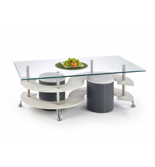NINA 5 coffee table with pouffes color: grey / dark grey