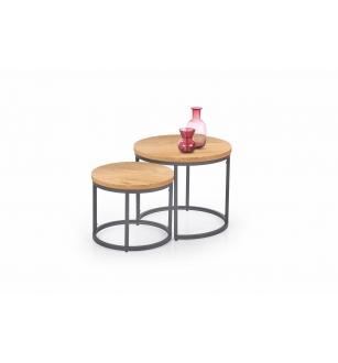OREO set of two c. tables - golden oak / black