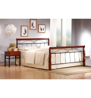 VERONICA bed 160 cm color: ant. cherry/black