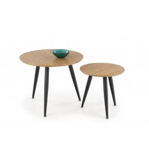 MENTONA 2, set of two coffee tables, color: golden oak / black