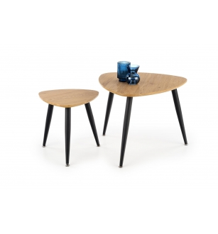 NICEA 2, set of two coffee tables, color: golden oak / black