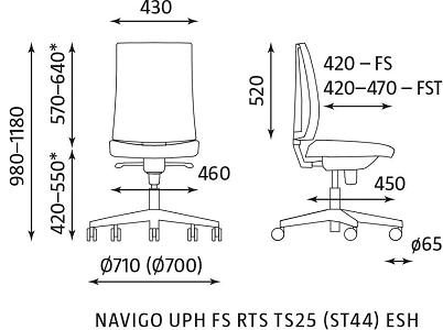 biuro kėdės Navigo matmenys